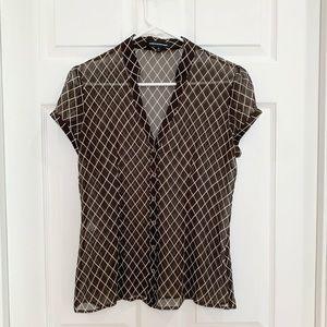 Express Design Studio brown & white blouse Size M